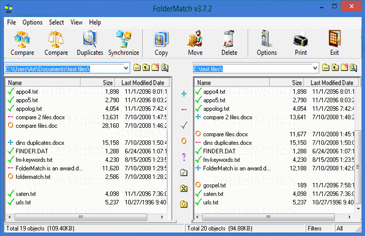 FolderMatch Screenshot